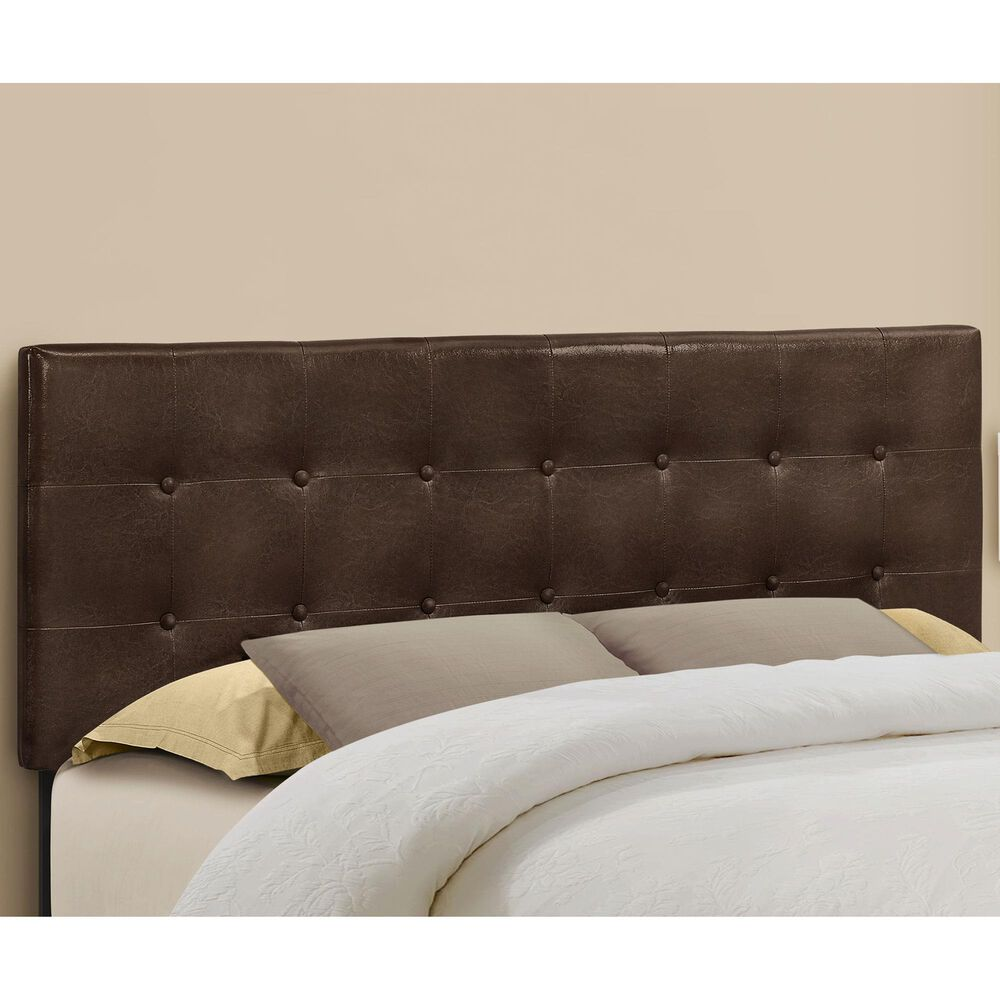 Monarch Specialties Queen Button Tufted Headboard in Brown, , large