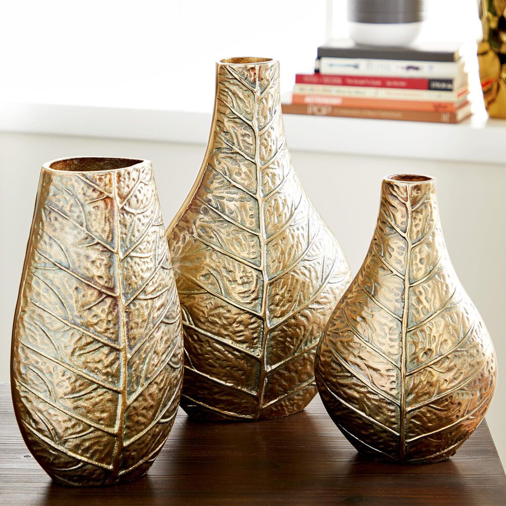 Maple and Jade  Glam Aluminum Vase  Set of 3 in Gold, , large