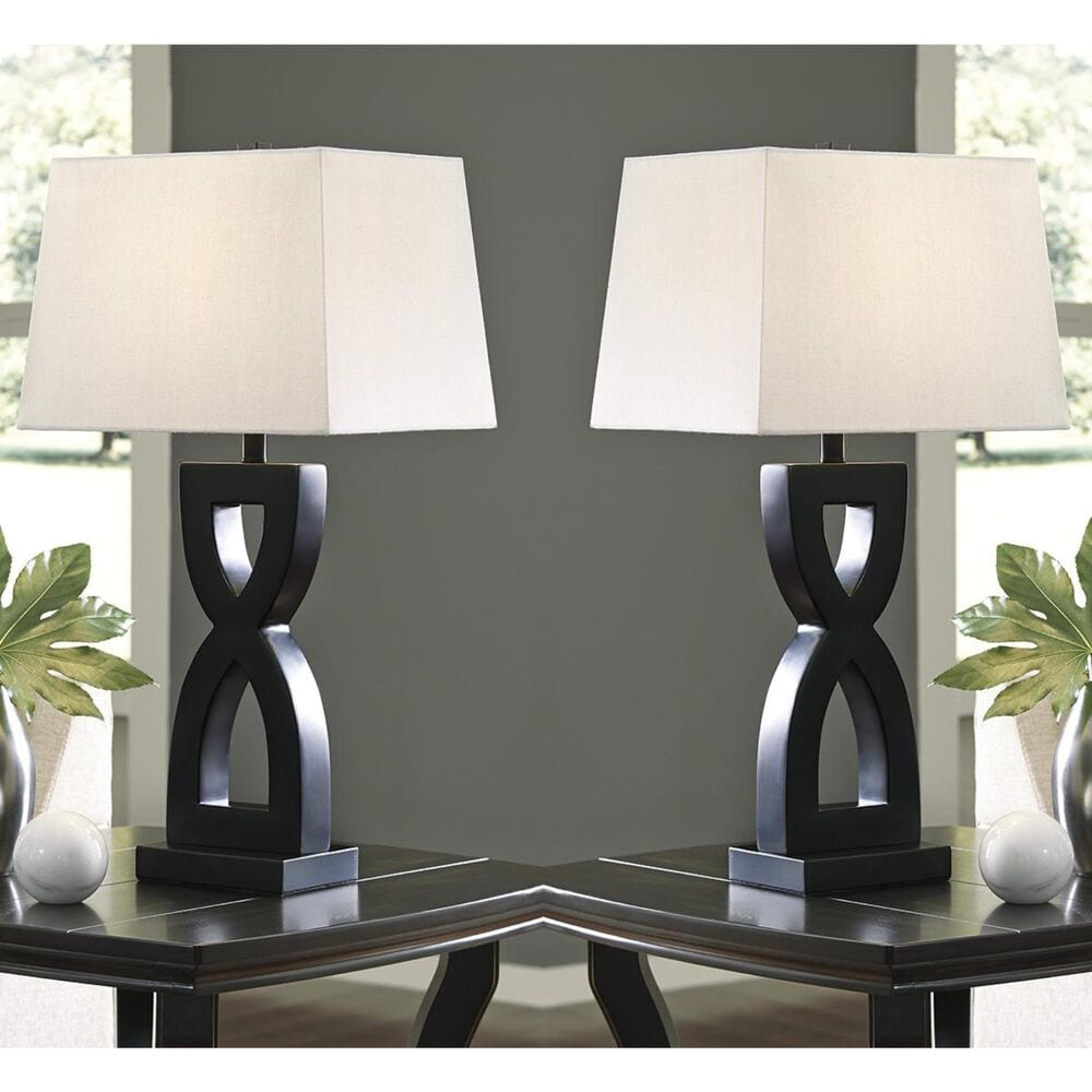 Signature Design by Ashley Amasai Poly Table Lamp in Black - Set of 2, , large