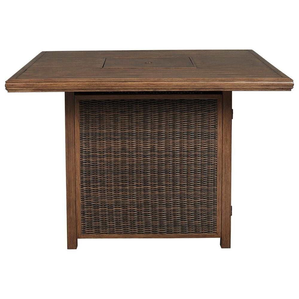 Signature Design by Ashley Paradise Trail Square Bar Table with Fire Pit in Medium Brown, , large