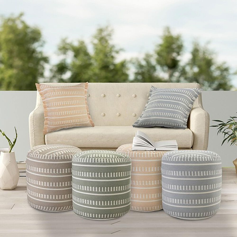 L.R. RESOURCES Dash Geometric Outdoor Pouf in Peach and White, , large