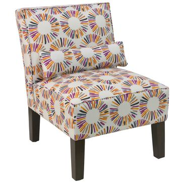 Skyline Furniture Armless Chair in Medallion Multicolor, , large