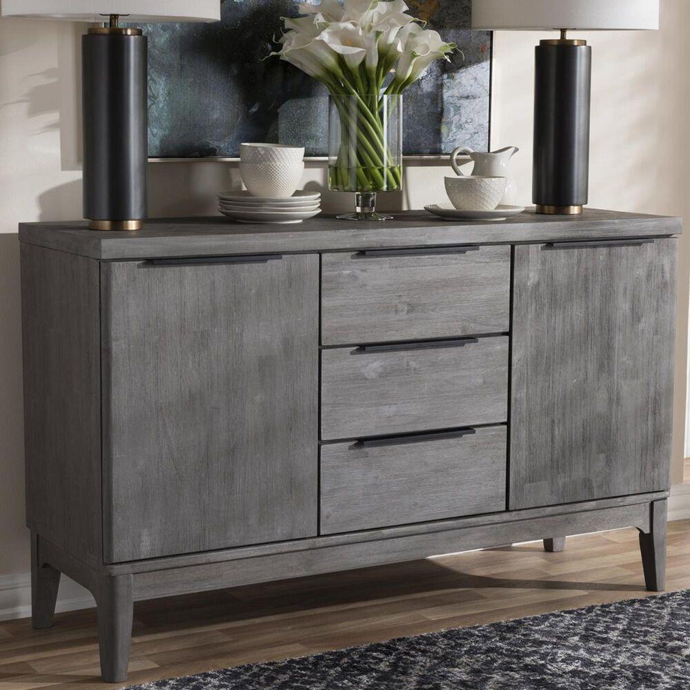 Baxton Studio Nash 3-Drawer Sideboard Buffet in Platinum Grey, , large