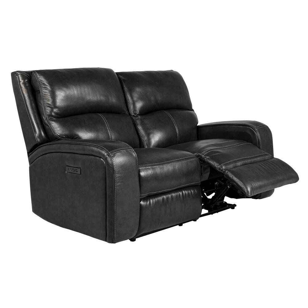 Oxford Furniture Leather Power Reclining Loveseat with Power Headrest in Pewter, , large
