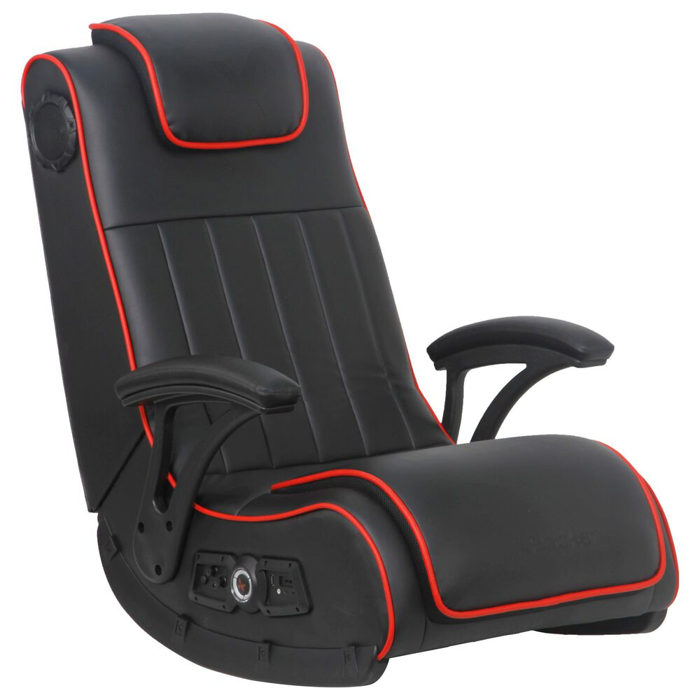 X-Rocker Pro Series H4 2.1 Dual Wireless and Bluetooth Floor Rocker in Black and Red, , large