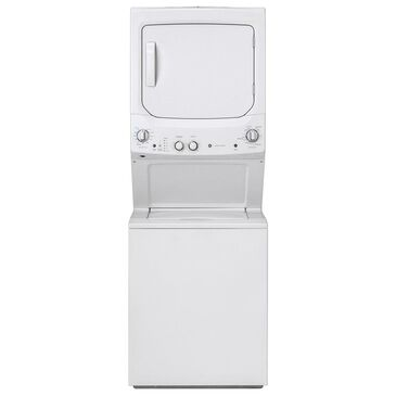 GE Appliances Unitized Spacemaker Electric Stack Laundry in White, , large