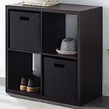 Linden Boulevard Goven 4-Cubby Storage Cabinet in Espresso, , large