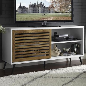"""Walker Edison 52"""" TV Console with Sliding Door in White/Barnwood, , large"""