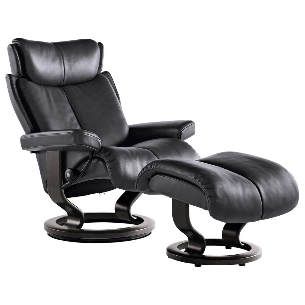 Ekornes Magic Large Chair and Ottoman in Paloma Rock and Wenge, , large