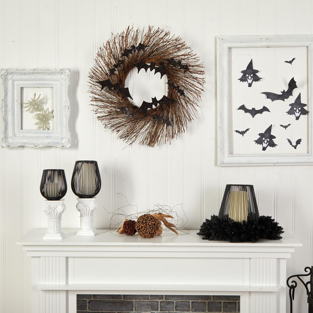 Nearly Natural Inc 26in. Halloween Bats Twig Wreath, , large