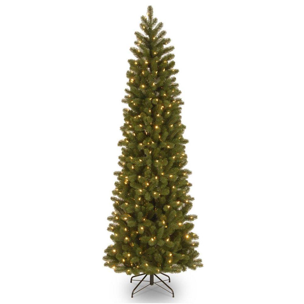 "National Tree 7.5"" Feel Real Downswept Douglas Fir Pencil Slim Hinged Green Tree with 350 Dual LED Lights, , large"