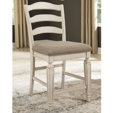 Signature Design by Ashley Realyn Upholstered Barstool in Chipped White, , large