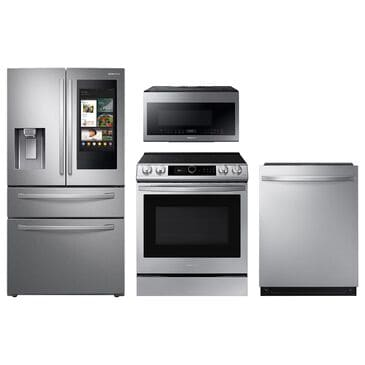 Samsung 4-Piece Kitchen Package with 22 Cu. Ft. 4-Door French Door and Electric Range in Stainless Steel, , large
