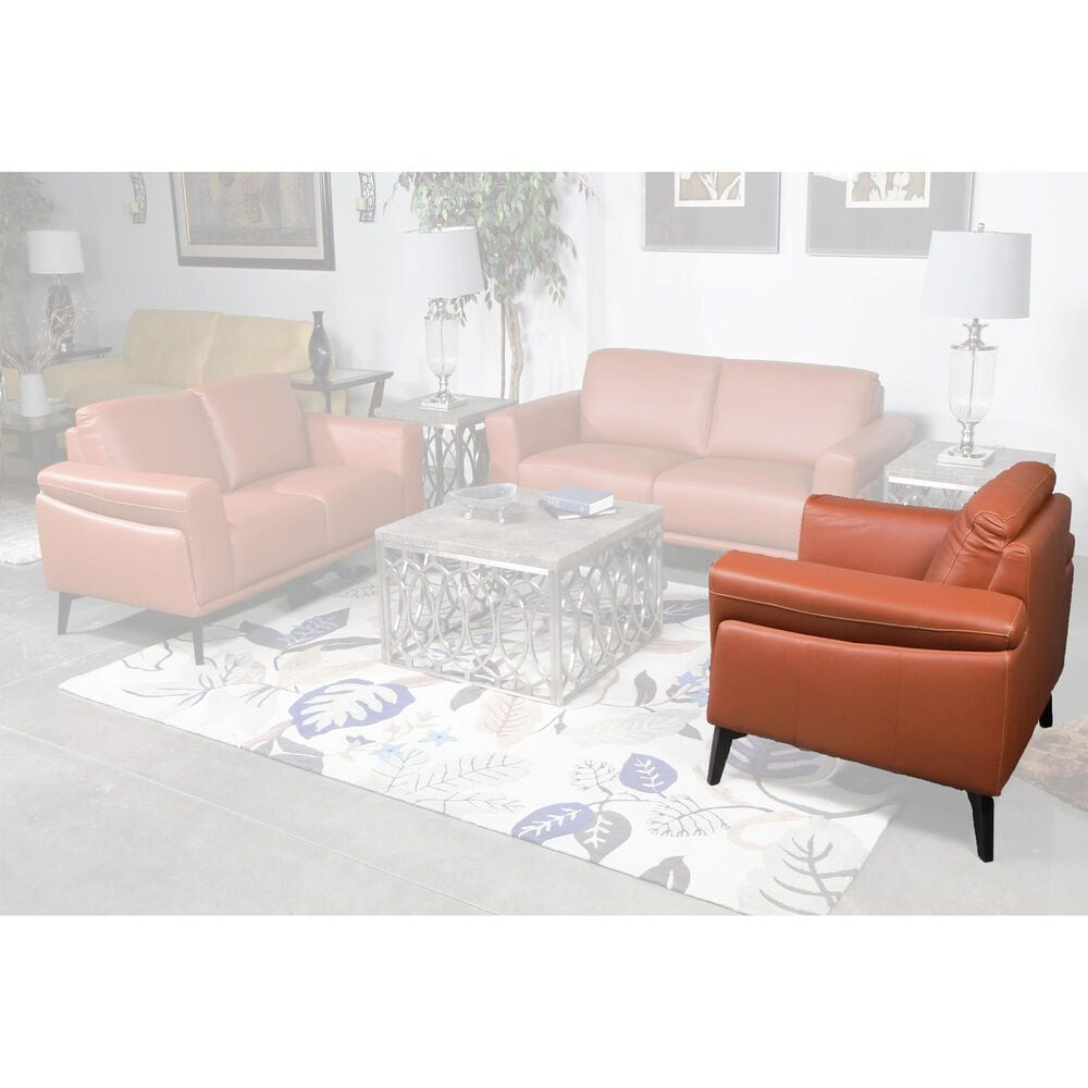 New Heritage Design Como Leather Arm Chair in Terracotta, , large
