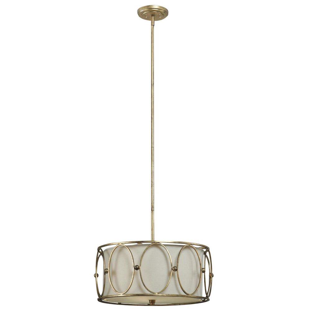 Uttermost Ovala 3 Light Drum Pendant in Antiqued Gold Leaf/Beige, , large
