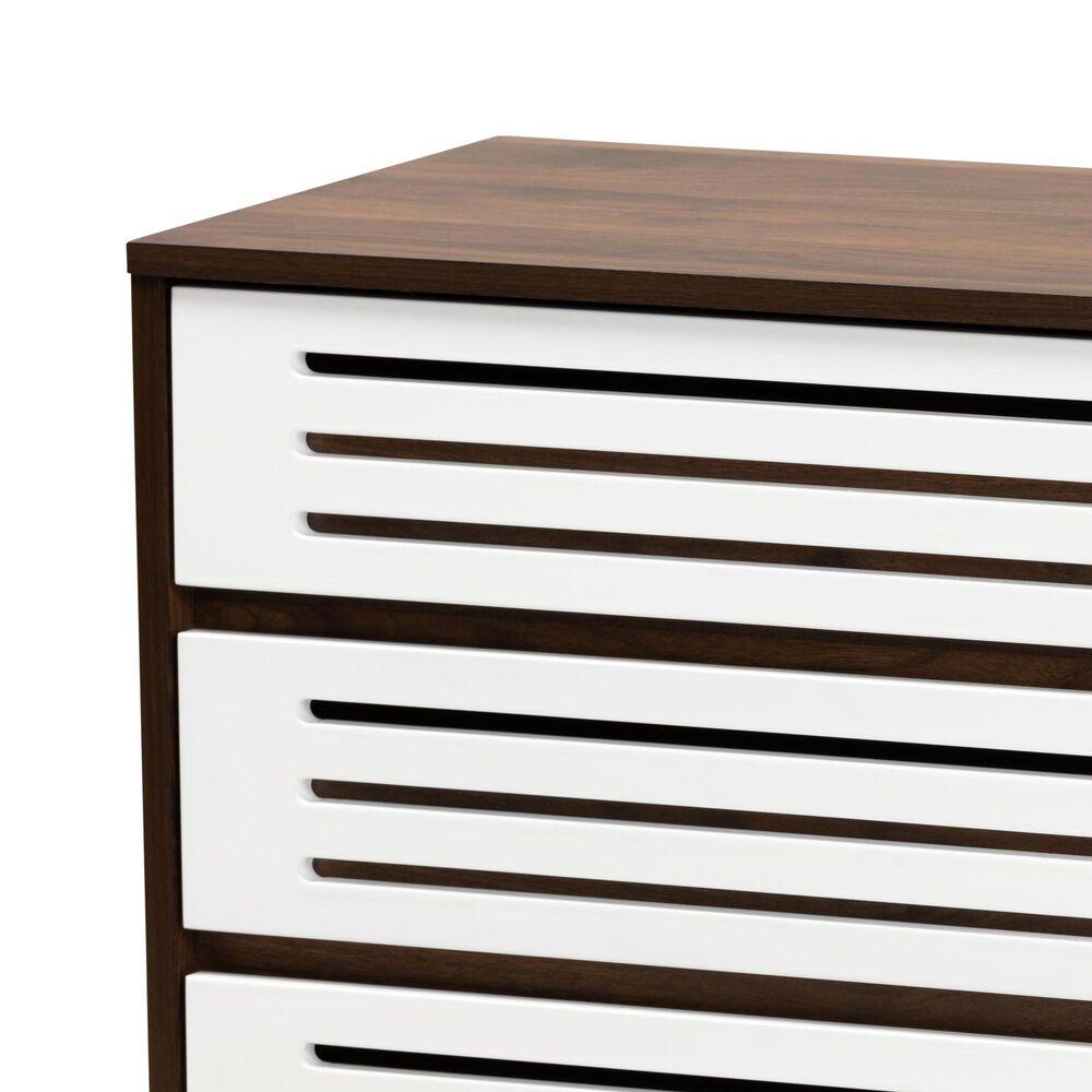 Baxton Studio Meike 6 Drawer Dresser in Walnut/White, , large