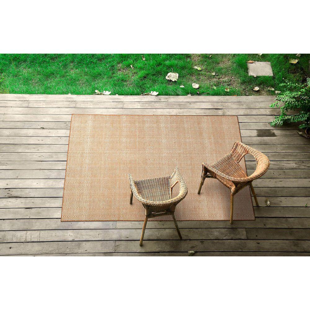 Kaleen Rugs Ziggy ZIG01-89 3' x 5' Orange and White Indoor/Outdoor Area Rug, , large