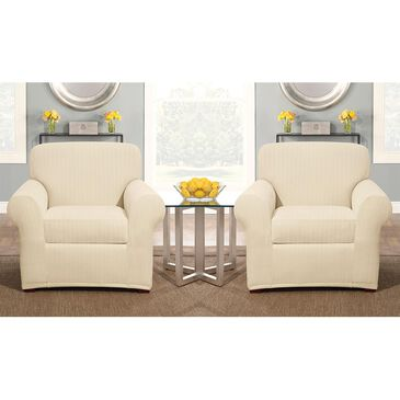 Surefit 2-Piece Box Cushion Chair Slipcover in Cream, , large