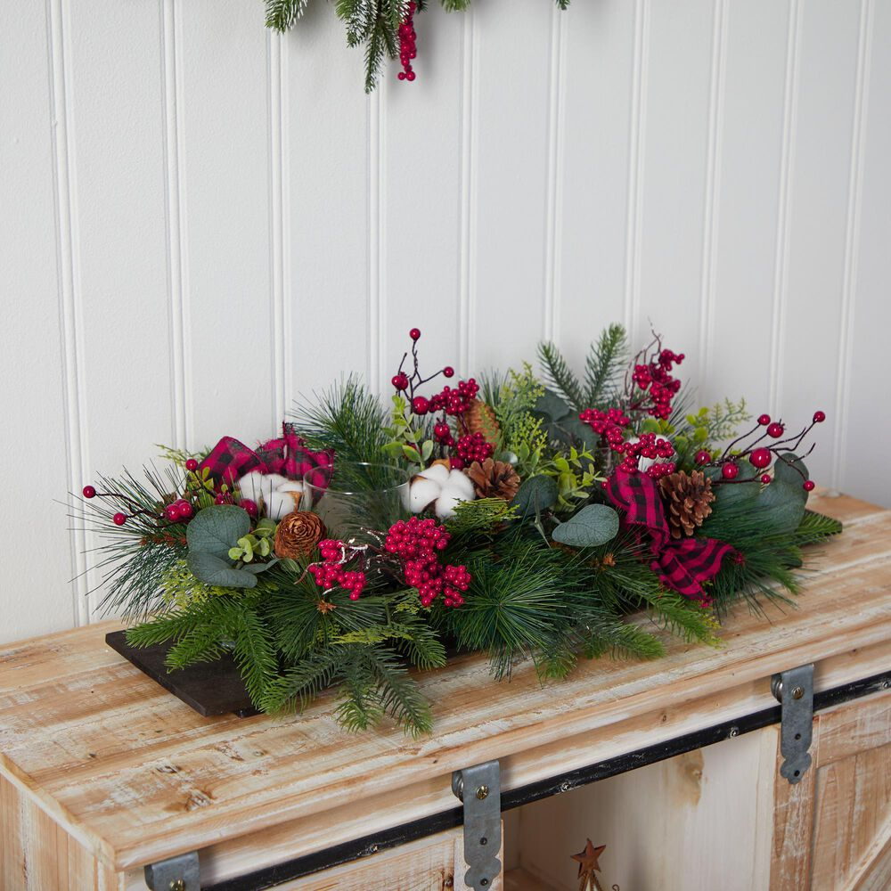 Nearly Natural Inc 24in. Holiday Berries, Pinecones and Eucalyptus Christmas Artificial Arrangement Cutting Board Wall Decor or Table Arrangement, , large