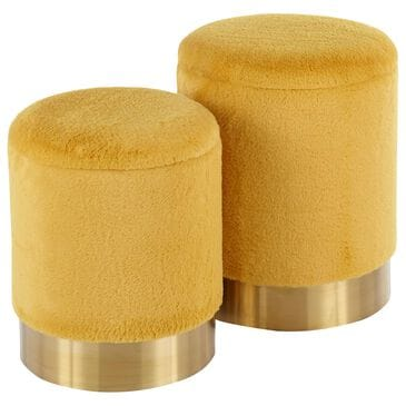 Lumisource Marla 2-Piece Nesting Ottoman Set in Yellow and Gold, , large