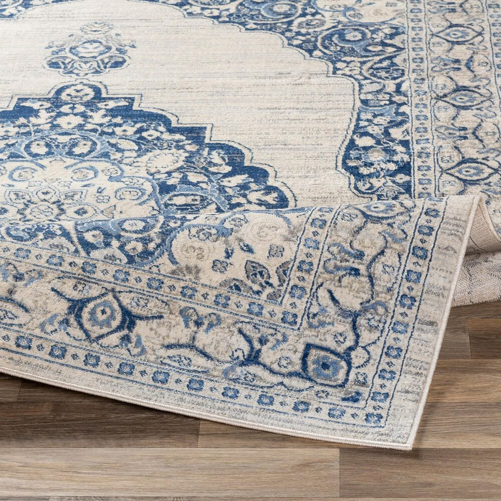 """Surya Monaco MOC-2310 2'6"""" x 8' Navy, Bright Blue, Cream, Silver and Gray Scatter Rug, , large"""