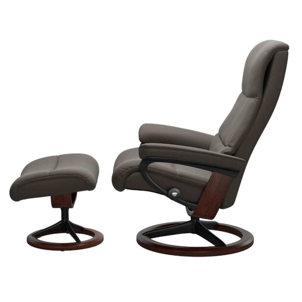 Ekornes View Small Chair and Ottoman in Metal Grey, , large