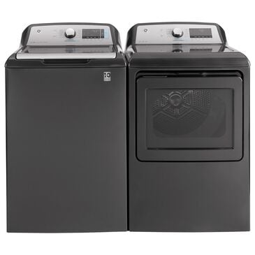 GE Appliances 5.2 Cu. Ft. Top Load Washer and 7.4 Cu. Ft. Electric Dryer Laundry Pair in Diamond Gray, , large
