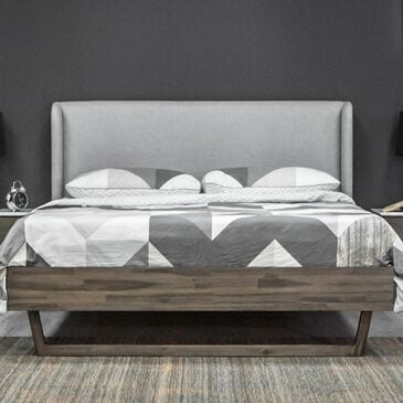 LH Imports Aura King Platform Bed in Gray Mix Distressed, , large