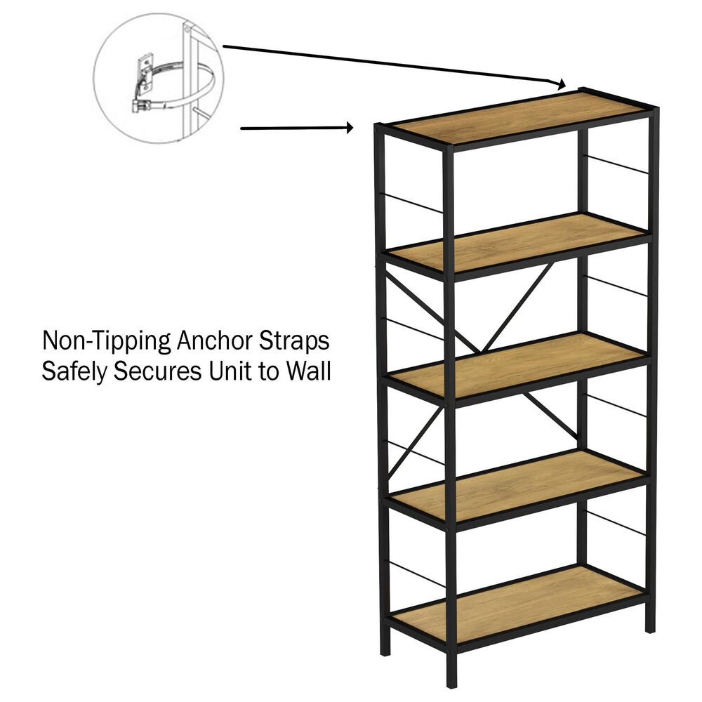 Timberlake Hastings Home 5-Tier Bookcase in Oak and Black , , large