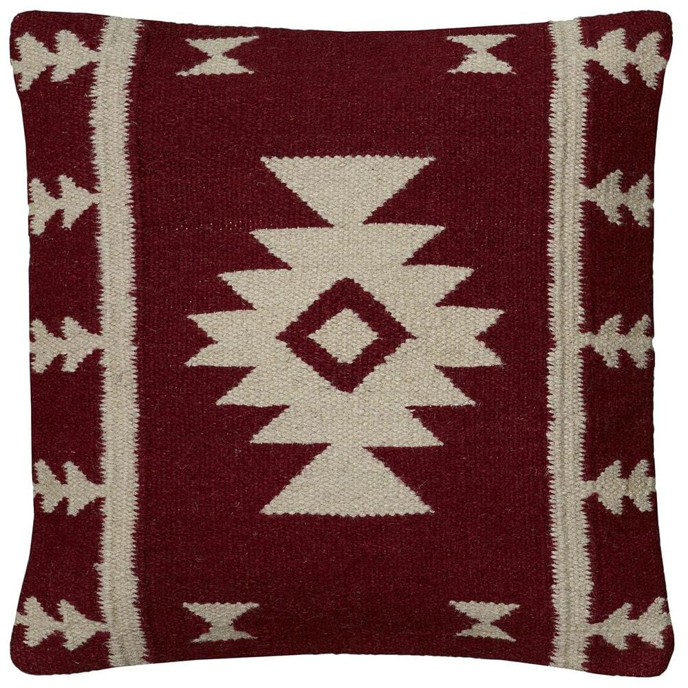 """Rizzy Home 18"""" x 18"""" Pillow Cover in Red and Tan, , large"""