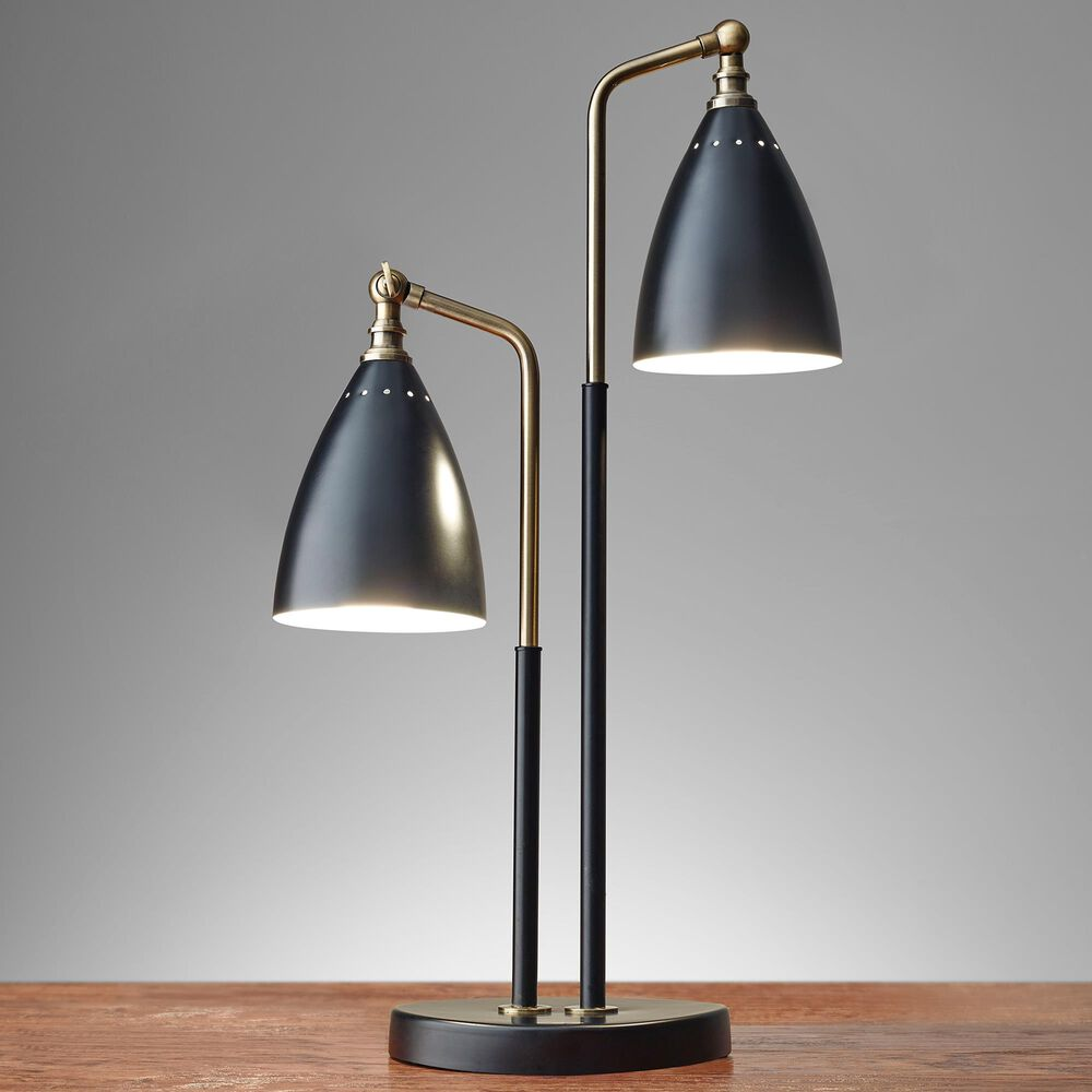Adesso Chelsea Table Lamp in Black and Antique Brass, , large