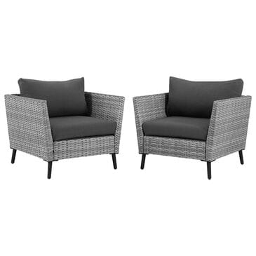 Crosley Furniture Richland Arm Chair in Grey (Set of 2), , large