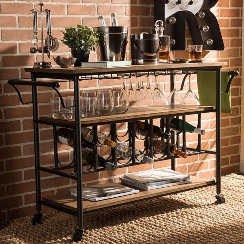 Baxton Studio Bradford Kitchen Cart in Antique Black and Weathered Oak, , large