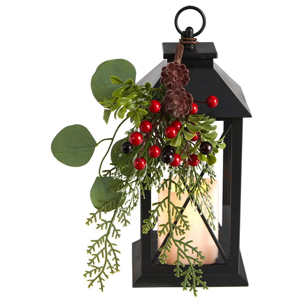Nearly Natural Inc 12in. Holiday Berries and Greenery Metal Lantern Artificial Table Christmas Arrangement with LED Candle Included, , large