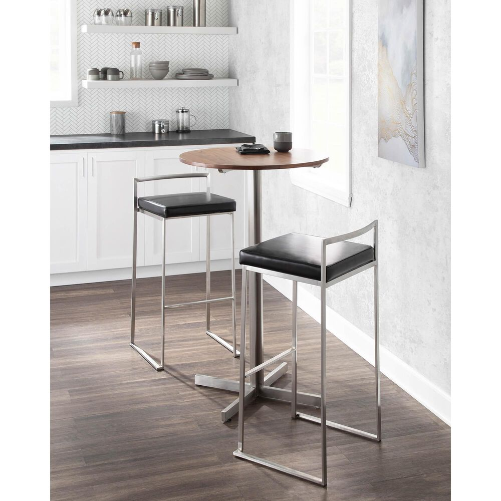 Lumisource Fuji Stackable Barstool in Black/Stainless Steel (Set of 2), , large