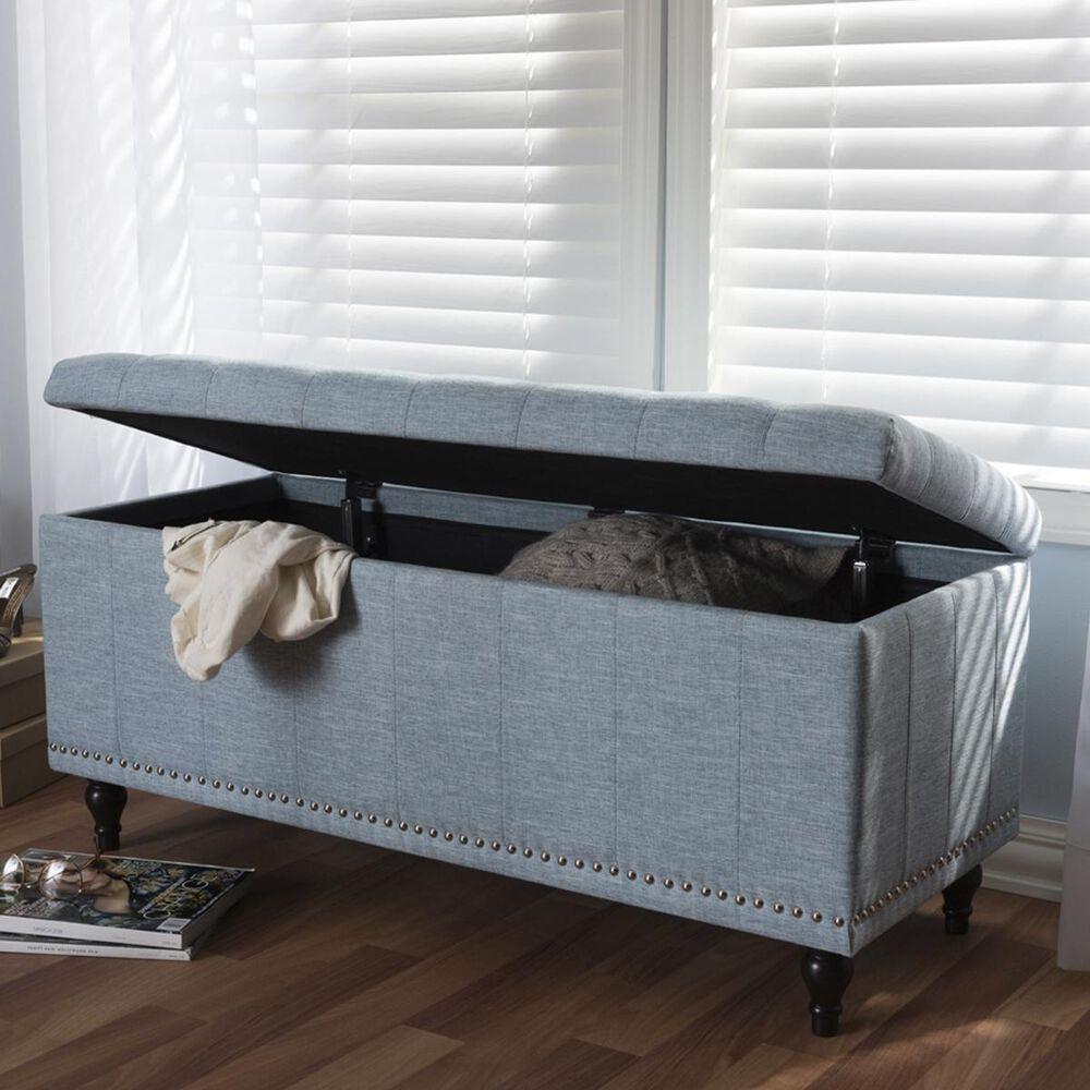 Baxton Studio Kaylee Upholstered Storage Ottoman Bench in Light Blue, , large