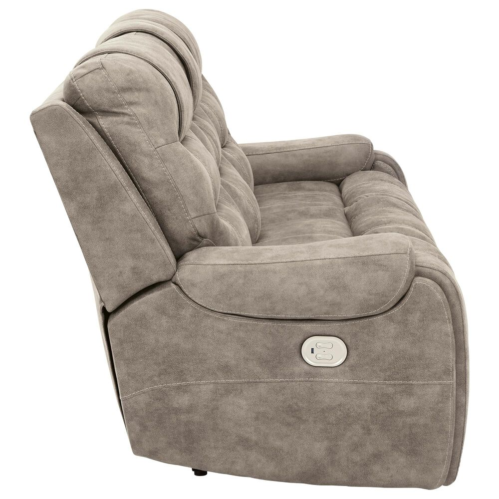 Signature Design by Ashley Yacolt Power Reclining Sofa with Adjustable Headrest in Fog, , large