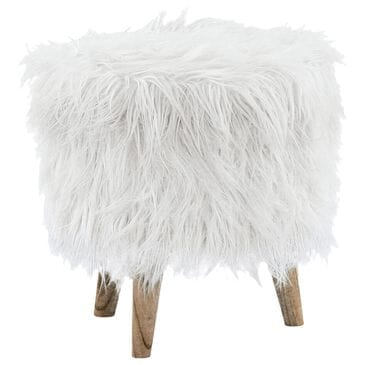 Signature Design by Ashley Elson Storage Ottoman in White Faux Fur, , large
