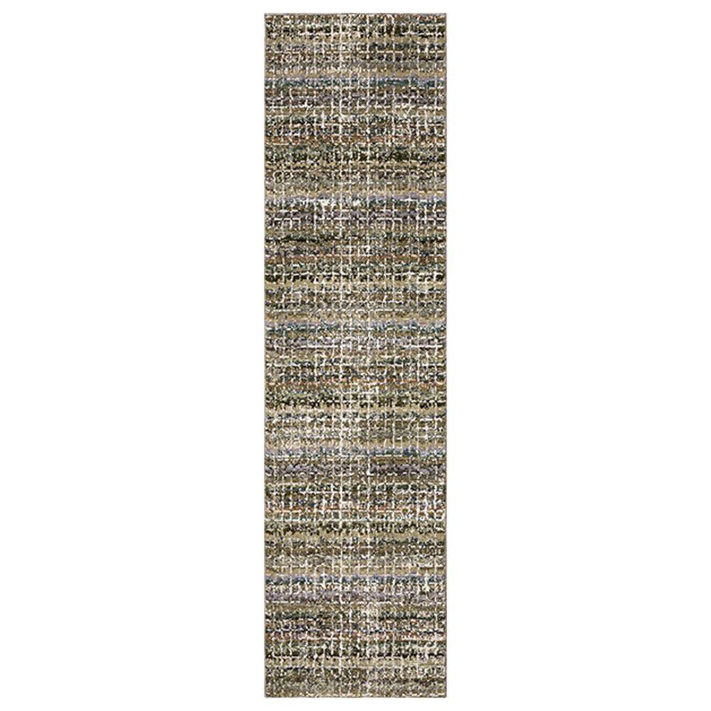 """Oriental Weavers Atlas Stripe 747A0 8""""6"""" x 22""""7"""" Green Runner, , large"""