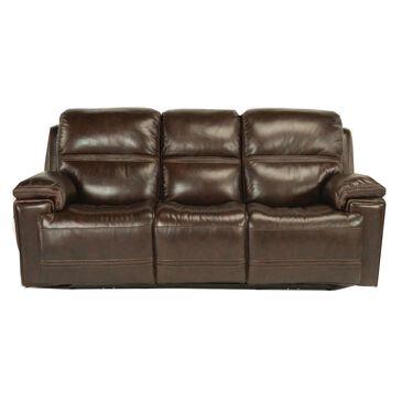 Flexsteel Fenwick Leather Power Reclining Sofa in Dark Brown, , large