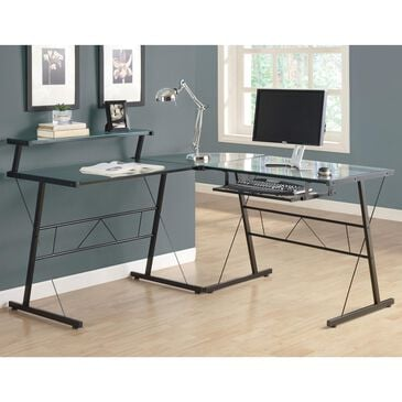 Monarch Specialties 3-Piece L-shaped Computer Desk with Tempered Glass in Black, , large