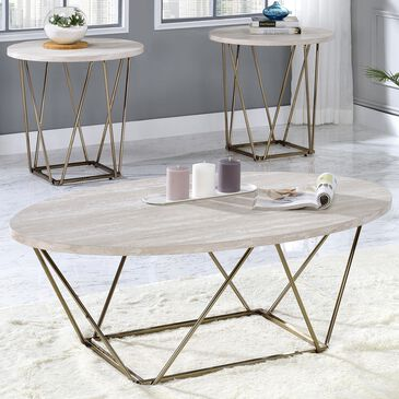Steve Silver Rowyn 3-Piece Occasional Table in White with Faux Marble Finish, , large