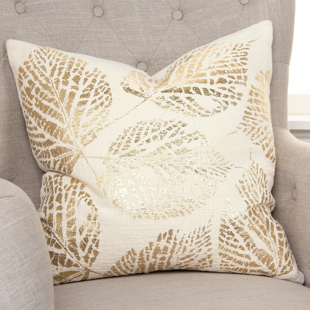 """Rizzy Home 20"""" Pillow Cover in Ivory and Gold, , large"""