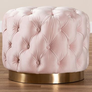 Baxton Studio Valeria Ottoman in Light Pink and Gold, , large