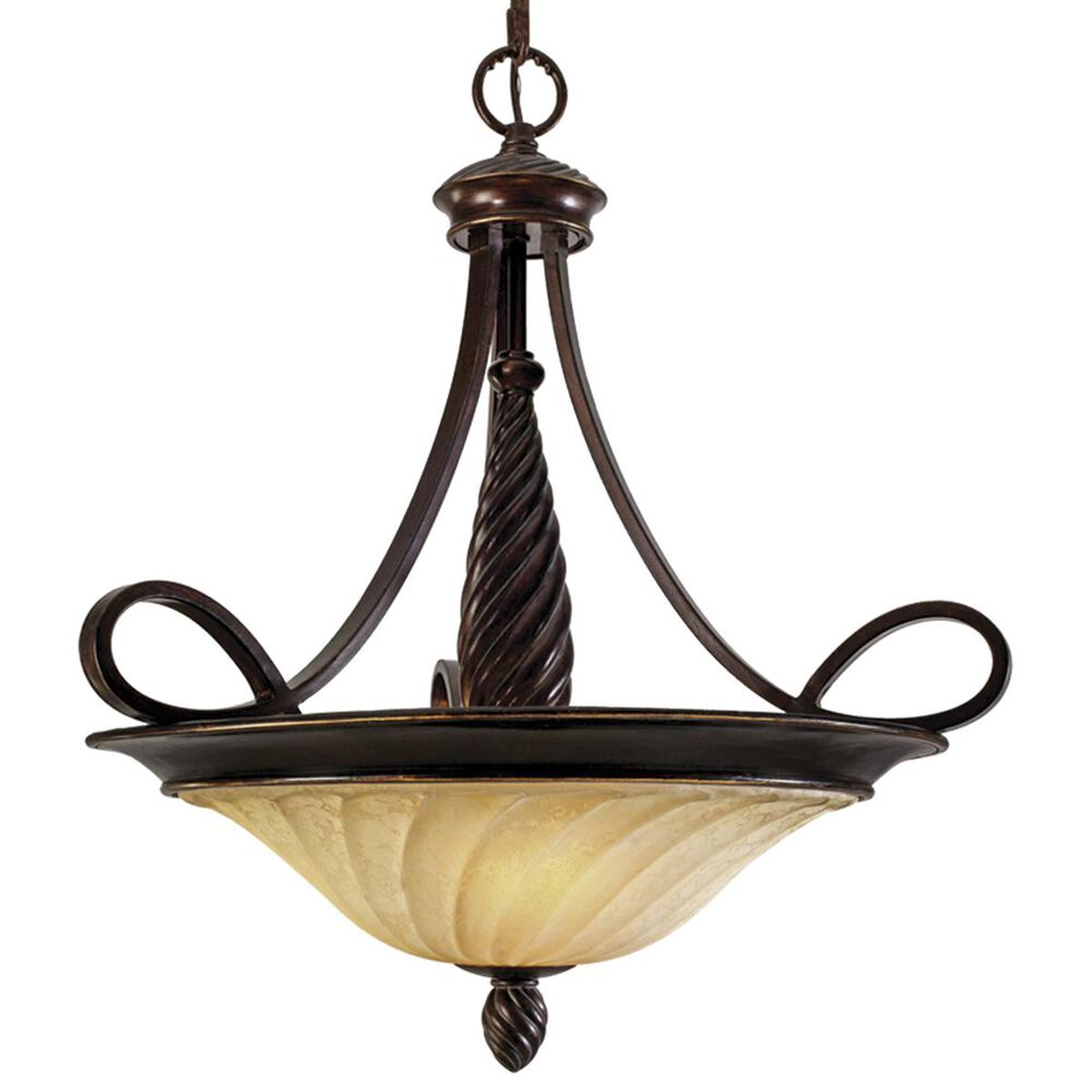 Golden Lighting Torbellino 3-Light Pendant in Cordoban Bronze with Remolino Glass, , large