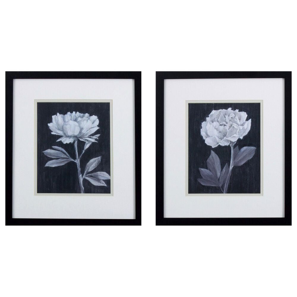 """Propac """"Black White Flowers"""" Wall Art in Black & White (Set of 2), , large"""