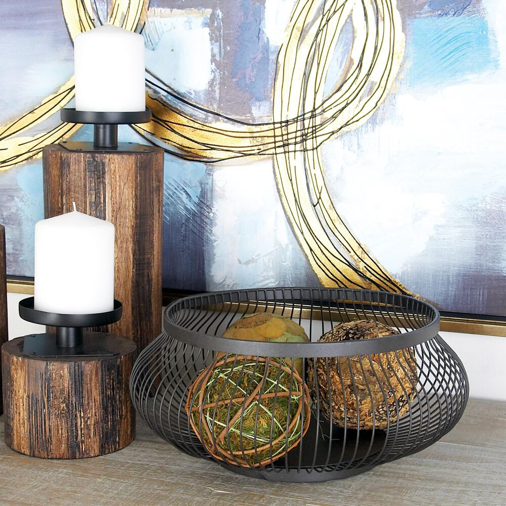 Maple and Jade Iron Wire Basket in Black (Set of 3), , large