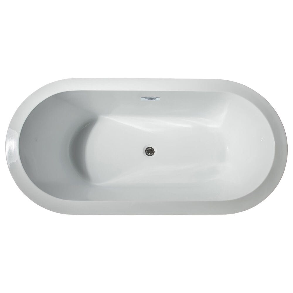 """Lexora Home Lure 59"""" Free Standing Acrylic Bathtub with Chrome Drain in White, , large"""
