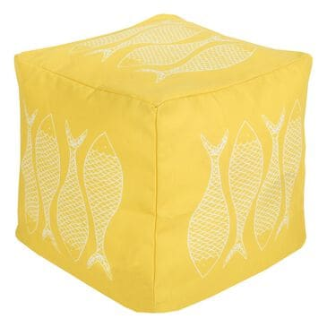Surya Inc Surya Poufs Cube Pouf in Sunflower and Ivory, , large