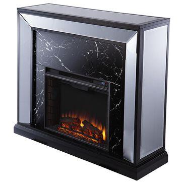 Southern Enterprises Trandling Fireplace in Silver/Black/Mirror, , large